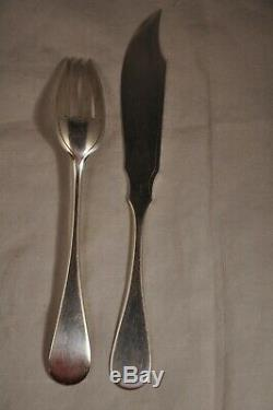 Couvert Poisson Argent Massif Cardeilhac 710gr Antique Solid Silver Fish Cutlery