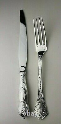 Couverts argent massif 2 pcs André Aucoc Armoiries French sterling