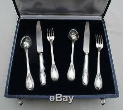 MENAGERE COUVERTS DE TABLE 6pc ARGENT MASSIF EMPIRE Sterling Silver Dinner Set